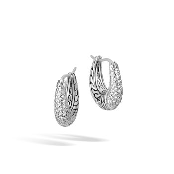 Classic Chain Hoop Earring in Silver with Diamonds