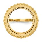 Lester Martin Online Collection 14ky Polished Rope 16.5mm Diamond-cut Prong Coin Bezel Ring