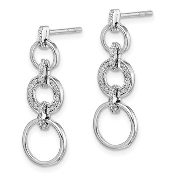 14k White Gold Diamond Fancy Dangle Earrings