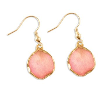 24k Gold-trim Lacquer Dipped Pink Rose Petal Gold-tone Dangle Earrings