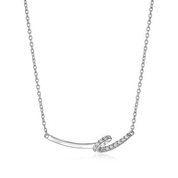 White Cubic Zirconia, Ribbon-shaped, Necklace, Rhodium Plated Silver