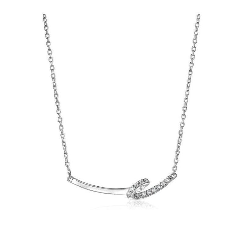 LARUS Jewelry White Cubic Zirconia, Ribbon-shaped, Necklace, Rhodium Plated Silver