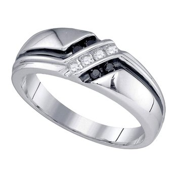 14kt White Gold Mens Round Black Color Enhanced Diamond Band Ring 1/5 Cttw
