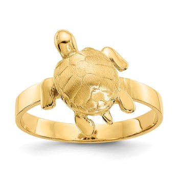 14K Gold Polished / Textured Sea Turtle Ring