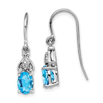 Sterling Silver Rhodium-plated Diamond and Blue Topaz Earrings