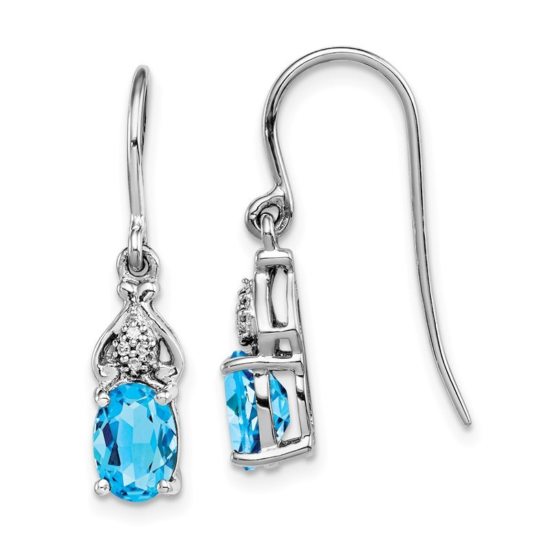 Quality Gold Sterling Silver Rhodium-plated Diamond and Blue Topaz Earrings