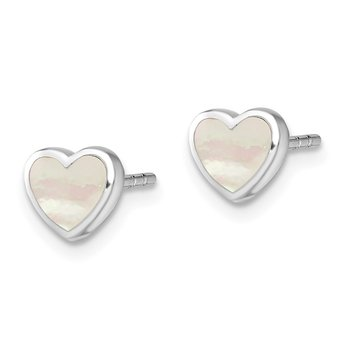 Sterling Silver Rhodium-plated Mother of Pearl Heart Post Earrings