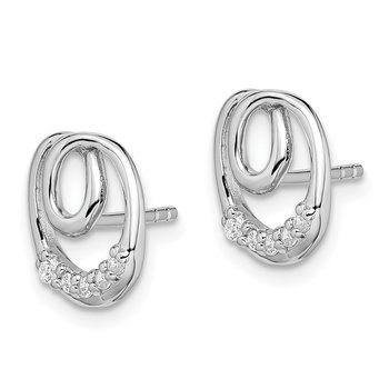 Sterling Silver Rhodium-plated Polished with CZ Post Earrings