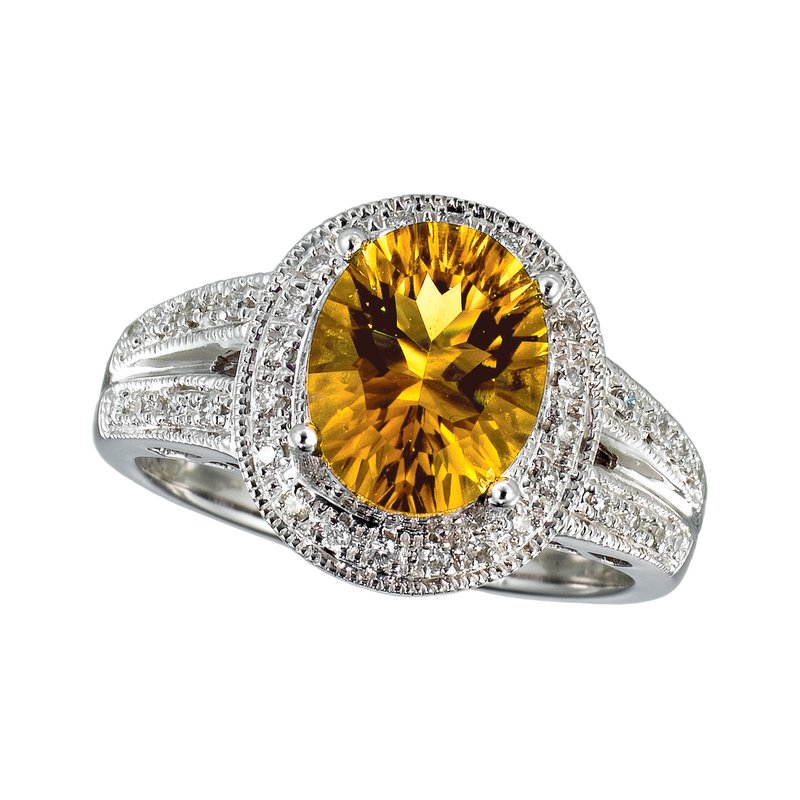 Color Merchants 14k White Gold Large Citrine And Diamond Ring