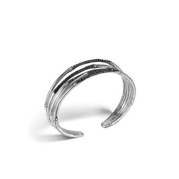 Bamboo 19MM Flex Cuff in Silver with Gemstone