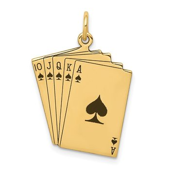 14k Enameled Royal Flush Playing Cards Charm