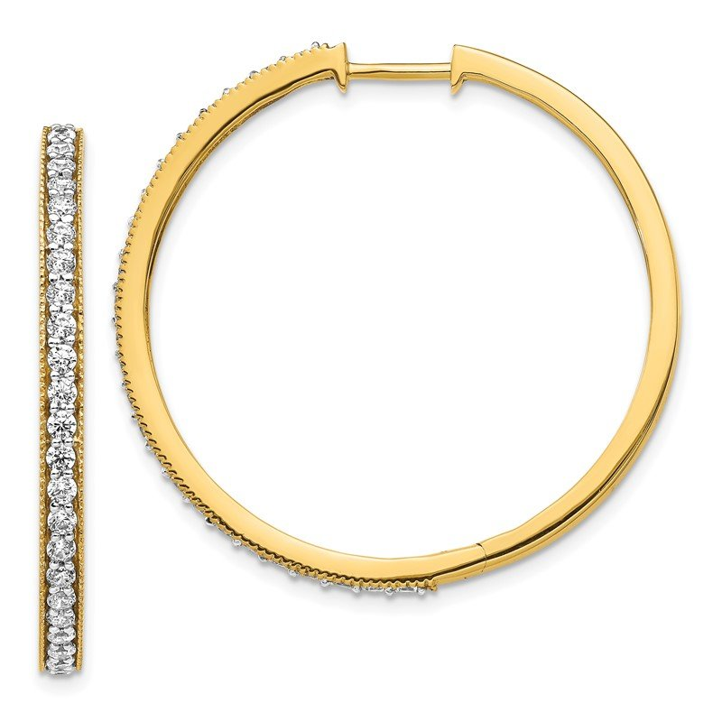 Quality Gold 14k White Gold Diamond Milgrain Hoop Earrings
