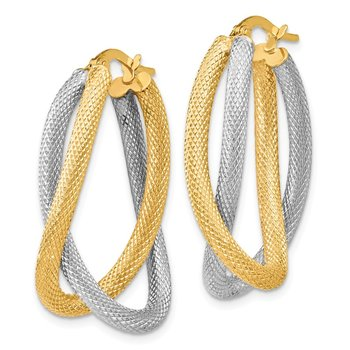 Leslie's 14K Two-tone Textured Hoop Earrings