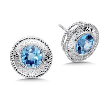 Sterling Silver Blue Topaz Cairo Post Earrings