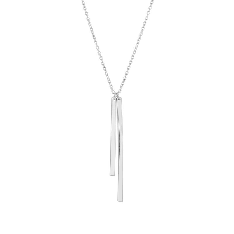 Royal Chain Silver Double Drop Bar Necklace