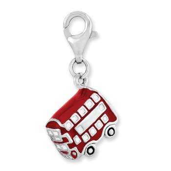 Sterling Silver Rhodium-plated 3-D Enameled Double Deck Bus w/Lobster Clasp