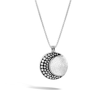 Dot Moon Phase Pendant Necklace in Hammered Silver