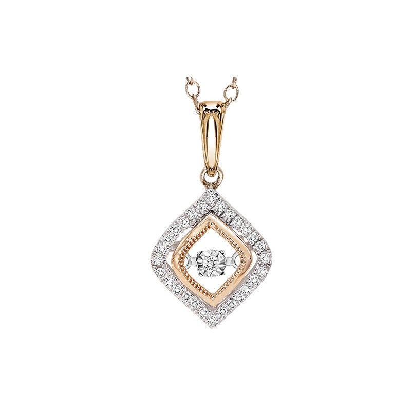Rhythm of Love 14K Rose & White Gold Diamond Pendant 1/7 ctw