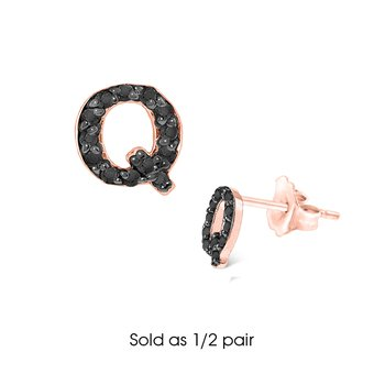 "Black Diamond Single Initial ""Q"" Stud Earring (1/2 pair)"