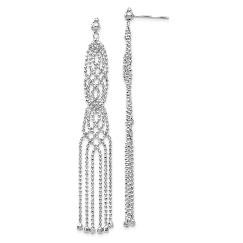 Quality Gold 14K White Gold Bead Chain Earrings