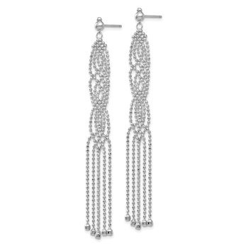 14K White Gold Bead Chain Earrings