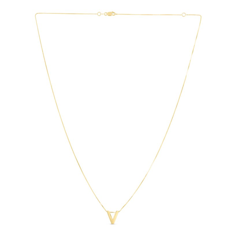 Royal Chain 14K Gold Block Letter Initial V Necklace