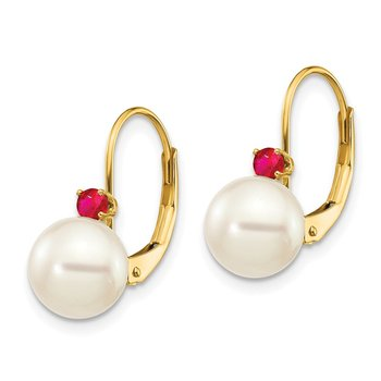 14k 7-7.5mm White Round FW Cultured Pearl Ruby Leverback Earrings