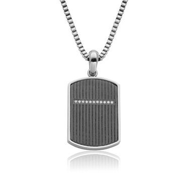 Black Textured Dog Tag Pendant with Mini CZ 24""