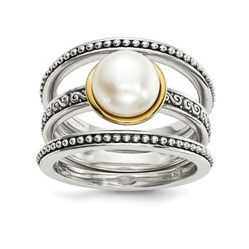 Sterling Silver w/14k Antiqued 8mm Button FWC Pearl Set of 3 Rings
