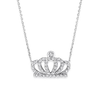 Diamond Crown Necklace in 14K White Gold with 38 Diamonds Weighing .20ct tw.