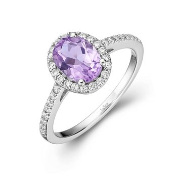 Genuine Amethyst Halo Ring
