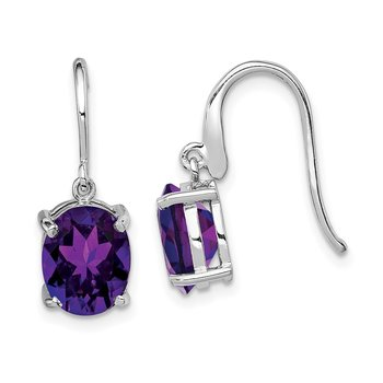 Sterling Silver Rhodium Amethyst Wire Earrings