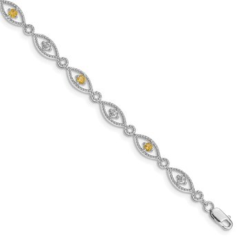 Sterling Silver Rhodium-plated Citrine Diamond Bracelet