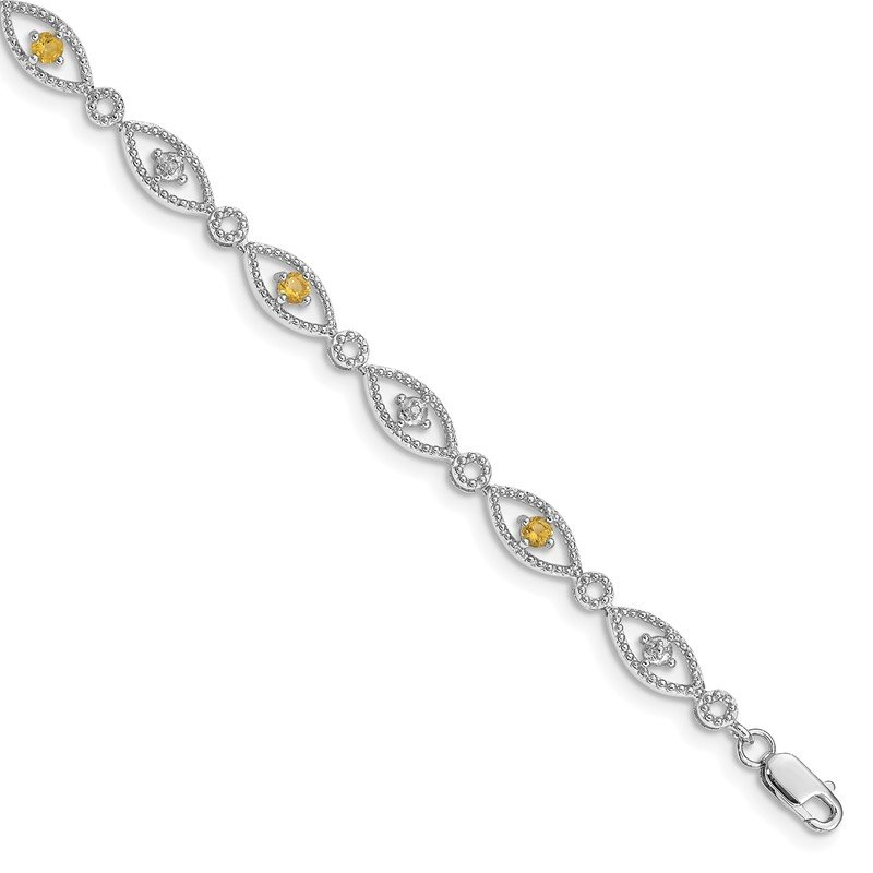 Quality Gold Sterling Silver Rhodium-plated Citrine Diamond Bracelet