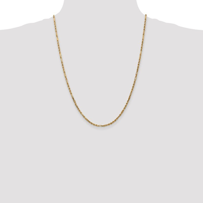 Quality Gold 14k 2.5mm D/C Milano Rope Chain