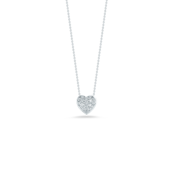 Puffed Heart Pendant With Diamonds