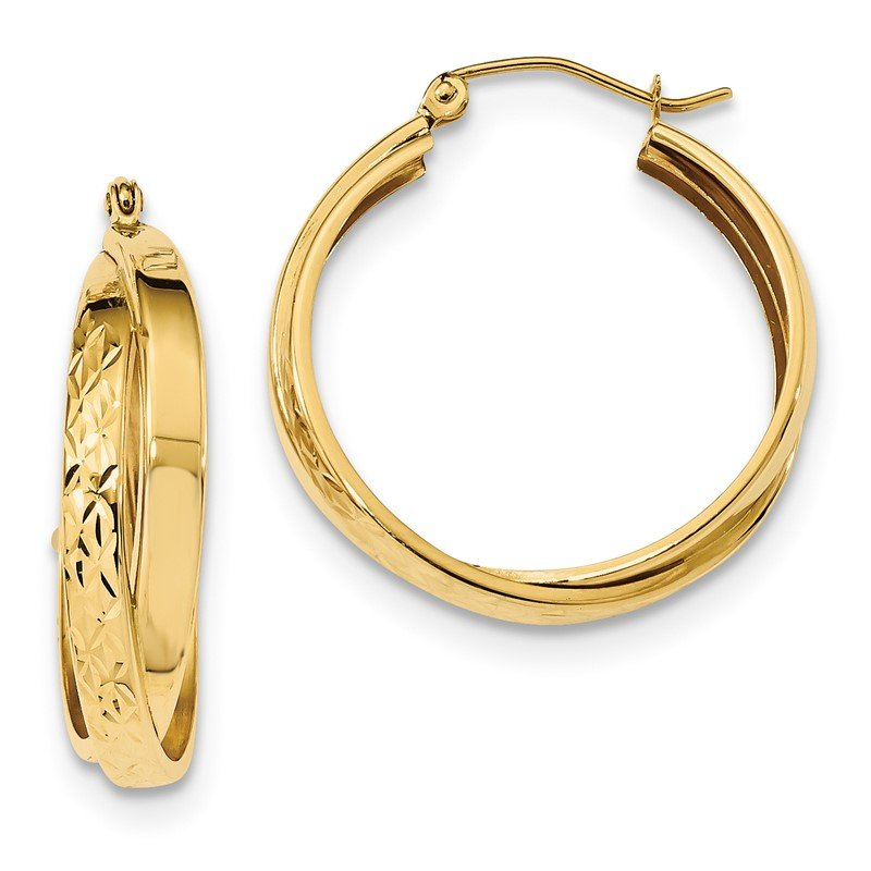 Quality Gold 14k Polished & D/C Twist Hoop Earrings