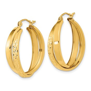 14k Polished Diamond-cut Twist Hoop Earrings