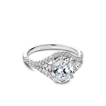 Oval Three-Stone Halo Engagement Ring