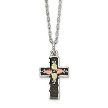 Sterling Silver & 12k Antiqued Cross Necklace