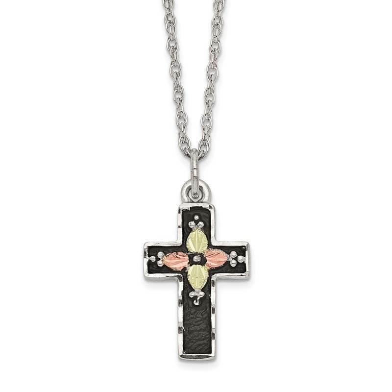 Quality Gold Sterling Silver & 12k Antiqued Cross Necklace