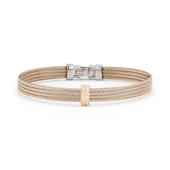 Carnation Cable Barred Bracelet with 18kt Rose Gold & Diamonds