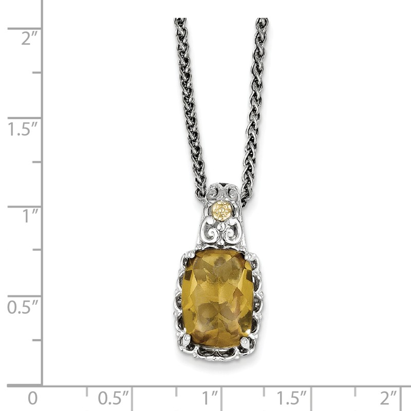 Sterling Silver with Flash Gold-plate Accent Whiskey Quartz Charm Pendant
