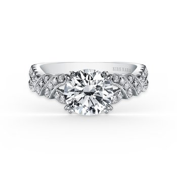 Twist Split Shank Diamond Engagement Ring