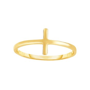 14K Gold Side Cross Ring