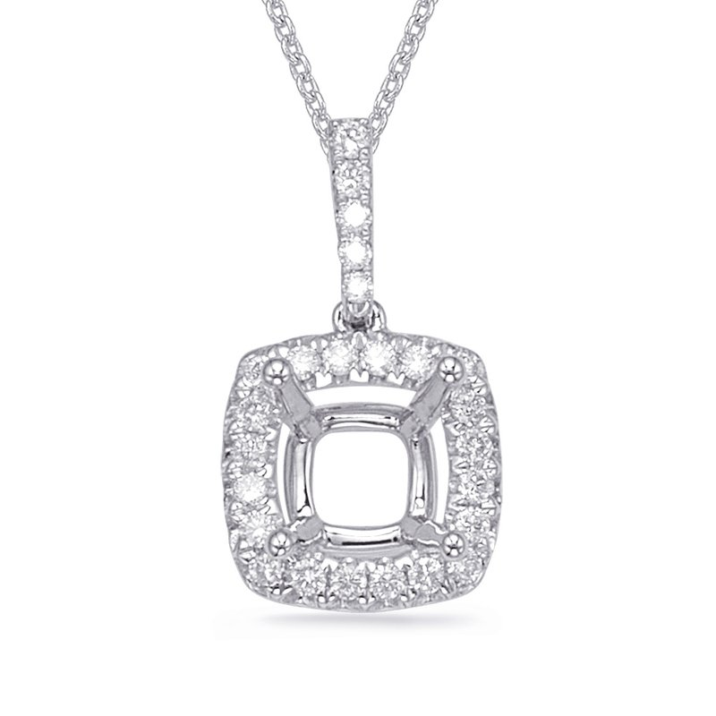 S. Kashi  & Sons Diamond Pendant For 4.1mm Cushion