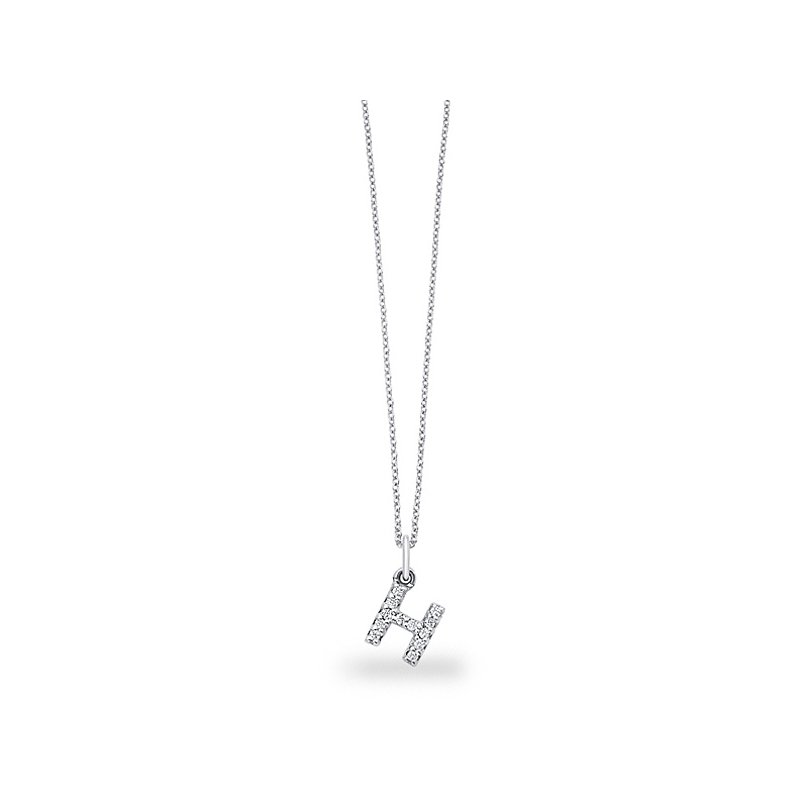 "KC Designs Diamond Baby Block Initial ""H"" Necklace in 14k White Gold with 12 Diamonds weighing .10ct tw."