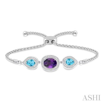oval & pear shape silver diamond & gemstone lariat bracelet