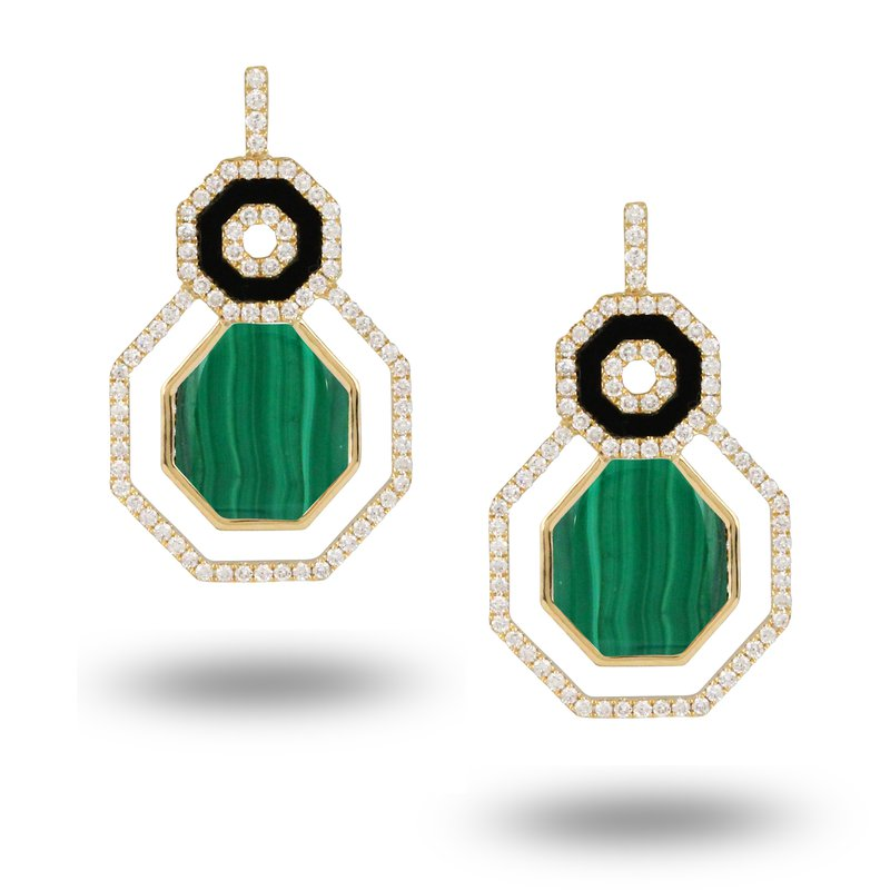 Doves Verde Geometric Earrings 18KY