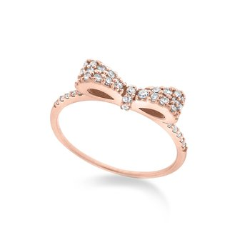 Diamond Bow Stack Ring in 14K Rose Gold with 43 Diamonds Weighing  .25ct tw